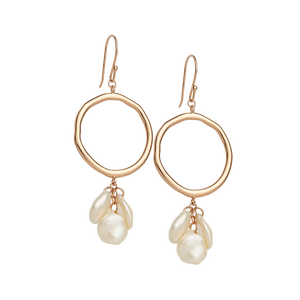 Rose Gold Plated Cluster Pearl Earrings