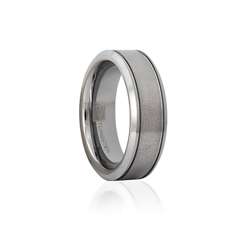 Tungsten Satin Finish Double Groove 7mm Men's Ring