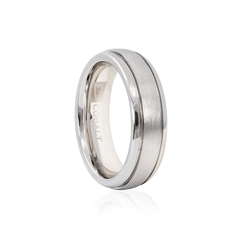Cobalt Satin Finish Double Groove 6mm Men's Ring