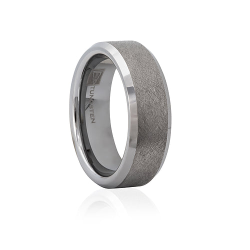 Tungsten Brush Finish Bevelled Edge 7mm Men's Ring