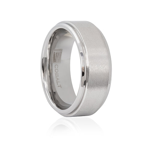 Cobalt Satin Finish Stepped Edge 8mm Men's Ring