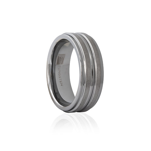 Tungsten Double Satin Finish Stepped Edge 7mm Men's Ring