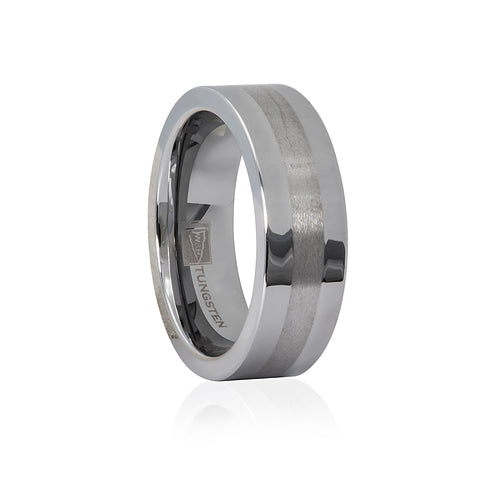 Tungsten Polished/Satin Finish Flat 7mm Men's Ring