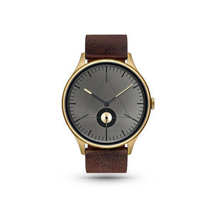 Architect Gold/Dark Brown Leather Watch