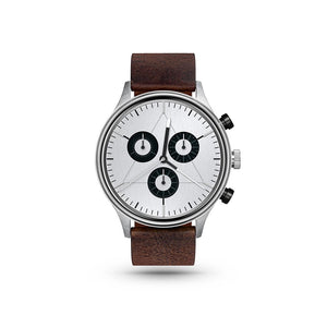 Engineer Brushed Steel/Dark Brown Leather Watch