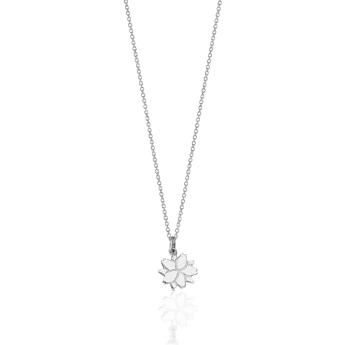 Silver Cherry Blossom Charm Necklace