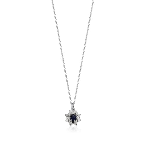 Silver Protea Midnight Sapphire Charm Necklace