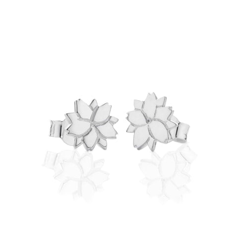 Silver Cherry Blossom Stud Earrings