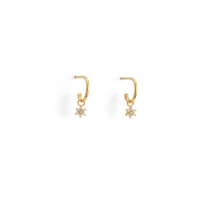 Gold Plated Crystal Flower Hoop Earrings