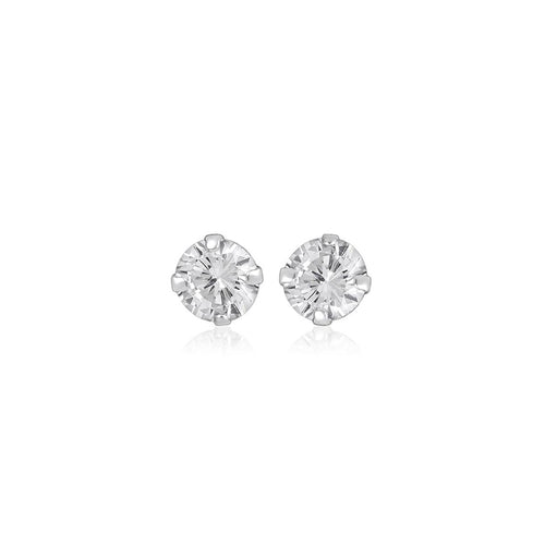 Silver 6mm Large Round Cubic Zirconia Studs