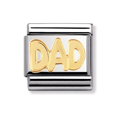Stainless Steel and 18ct Gold Dad Link