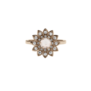 9ct Rose Gold Morganite Diamond Dahlia Ring