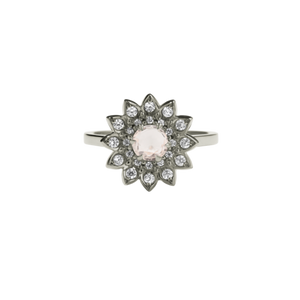 9ct White Gold Morganite Diamond Dahlia Ring