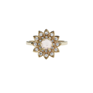 9ct Yellow Gold Morganite Diamond Dahlia Ring