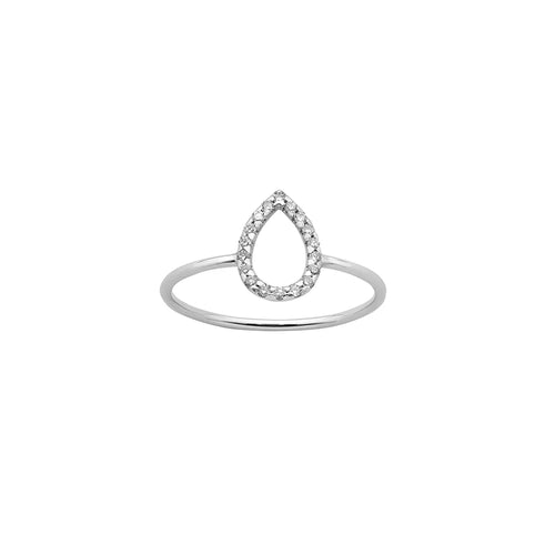 9ct White Gold Diamond Capsule Ring