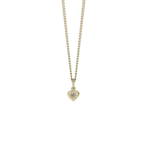 Gold Plated Diamond Heart Pendant - Grey Diamond