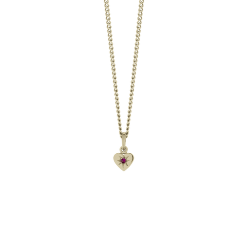 Gold Plated Diamond Heart Pendant - Ruby