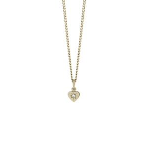 Gold Plated Diamond Heart Pendant - Diamond