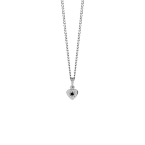 Silver Diamond Heart Pendant - Black Diamond