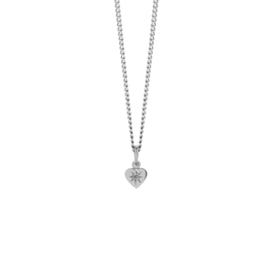 Silver Diamond Heart Pendant - Grey Diamond