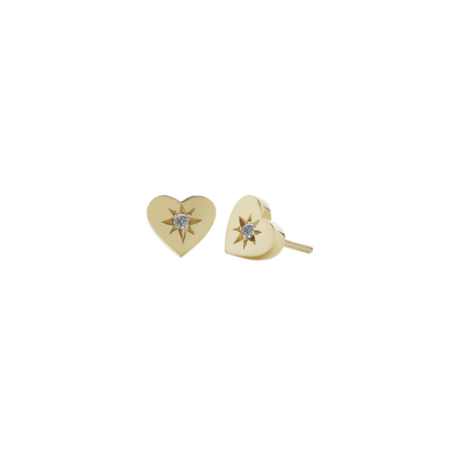 Gold Plated Diamond Heart Stud Earrings - Grey Diamond