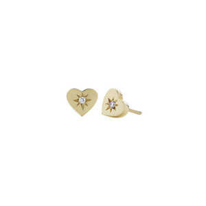 Gold Plated Diamond Heart Stud Earrings - Diamond