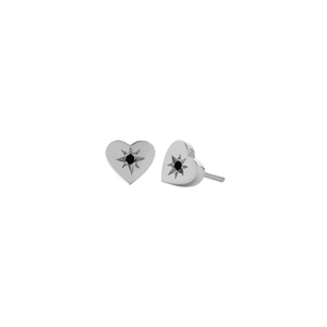 Silver Diamond Heart Stud Earrings - Black Diamond