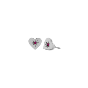 Silver Diamond Heart Stud Earrings - Ruby