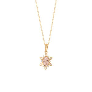 9ct Yellow Gold Fleur Morganite & Diamond Pendant