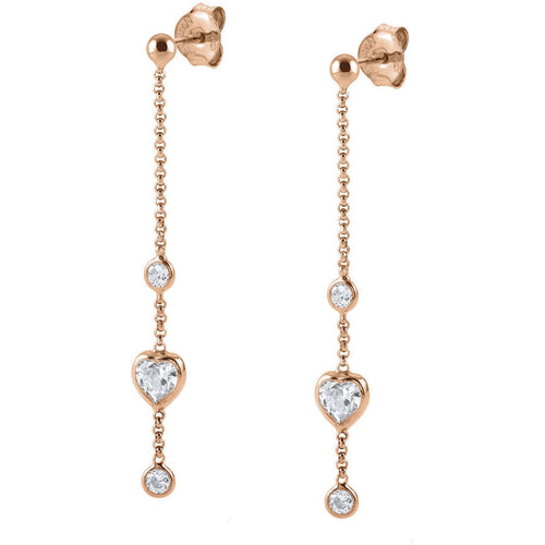 Rose Gold Plated Bella Chain with Heart CZ Earrings