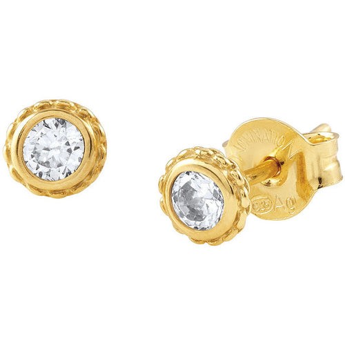 24ct Gold Plated Bella Round Cubic Zirconia Studs