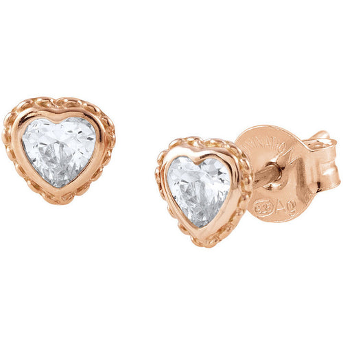Rose Gold Plated Bella Heart with Cubic Zirconia Studs