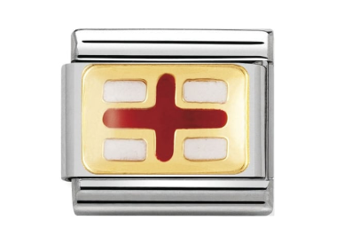 Stainless Steel Enamel 18ct Gold England Flag Link