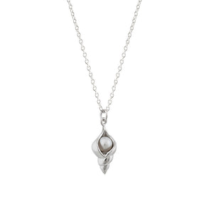 Silver Freshwater Pearl Sea Shell Necklace