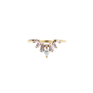 9ct Yellow Gold Morganite Diamond Etta Ring
