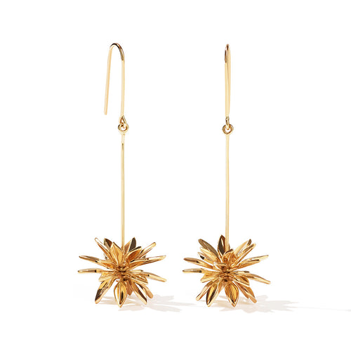 9ct Yellow Gold Fleur Drop Earrings