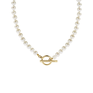 Gold Plated Fob Pearl Necklace