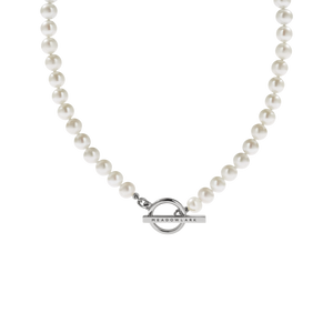 Silver Fob Pearl Necklace