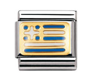 Stainless Steel Enamel 18ct Gold Greece Flag Link