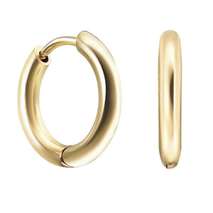 18ct Gold Plated Smooth Huggies Medium Hoops