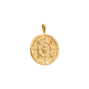 Gold Plated Hamsa Protection Coin