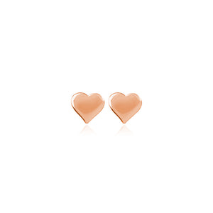 Rose Gold Plated Heart Studs