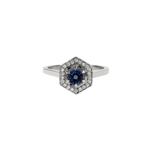 9ct White Gold Hex Engagement Ring 0.5ct - Blue Sapphire