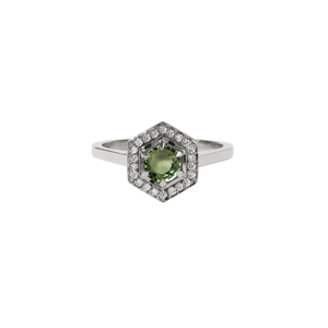 9ct White Gold Hex Engagement Ring 0.5ct - Green Sapphire