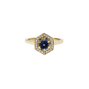 9ct Gold Hex Engagement Ring 0.5ct - Blue Sapphire