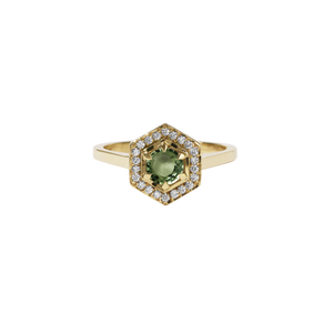 9ct Gold Hex Engagement Ring 0.5ct - Green Sapphire
