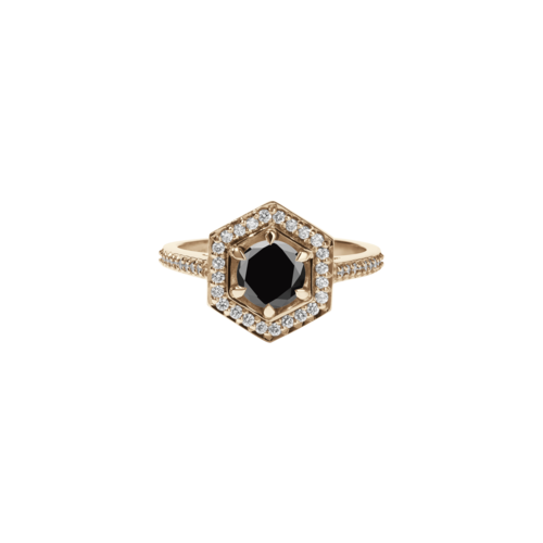 4780410ce5def 9ct Rose Gold Black Diamond & White Diamond Hex Ring - This item is MADE TO  ORDER and will be dispatched in 4 weeks / K