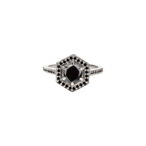 06e74739d0b71 9ct White Gold Black Diamond Hex Ring - This item is MADE TO ORDER and will  be dispatched in 4 weeks / K