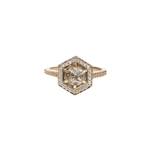 9ct Rose Gold Morganite Diamond Hex Ring