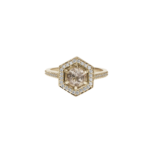 9ct Yellow Gold Morganite Diamond Hex Ring
